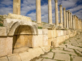 Corinthian Columns and Tracks of Chariot Wheels, Jerash, Jordan Photographic Print by Dave Bartruff