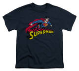 Youth: Superman - Flying Over Logo Distressed T-shirts