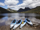Kayaks, Cradle Mountain and Dove Lake, Lake St Clair National Park, Western Tasmania, Australia Photographic Print by David Wall