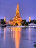 Wat Arun, Buddhist Temple Reflects in River at Dusk, Bangkok, Thailand Photographic Print