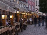 Livu Laukums Square Cafes, Old Riga, Vecriga, Latvia Photographic Print by Walter Bibikow