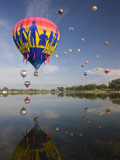 Hot Air Balloons Reflected in Prospect Lake, Colorado Springs, Colorado, USA Photographic Print by Don Grall
