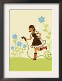 Girl Watering Flower Garden Art