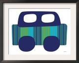 Blue Stripe Car Art by  Avalisa