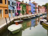 Colorful Burano City Homes Reflecting in the Canal, Italy Photographic Print by Terry Eggers