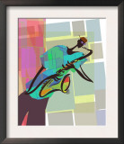 Saxophone Jazz Player on Colorful Geometric Background Posters
