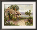 Cottage and Flower Garden Poster
