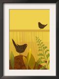 Birds in Garden with Ladybug Prints