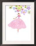 Lady in Pink Skirt with Flower Art