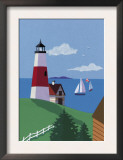 Lighthouse with Sailboats Art