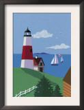 Lighthouse with Sailboats Art