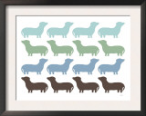 Blue Dashund Family Print by  Avalisa