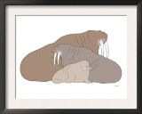 Brown Walrus Prints by  Avalisa