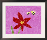 Bees with Red Flower Prints