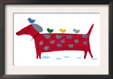 Red Dog with Birds Prints