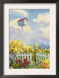Birdhouse in Flower Garden Prints