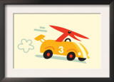 Orange Dino in Yellow Racecar Posters