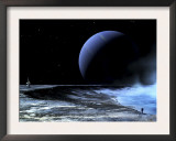 Astronaut Standing on the Edge of a Lake of Liquid Methane at the Bottom of a Large Impact Crater Print