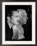 William Powell with Plaster Bust to Be Used in Behind the Makeup, 1930 Prints