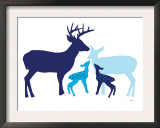 Blue Deer Prints by  Avalisa