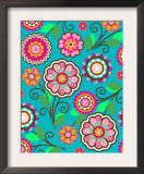 Bright Pink Flowers on Teal Print