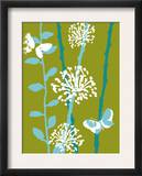 Green and Blue Color Print with Flowers and Butterfly Art