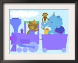 Birthday Train with Animals Print