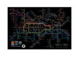 Black London Underground Map - Poster