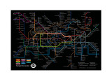 Black London Underground Map Posters