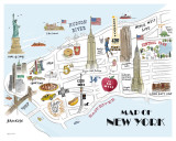 Map of New York Prints by Alice Tait