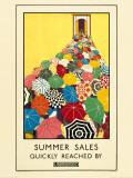 Sommerudsalg, reklame for undergrundsbanen, på engelsk Plakater