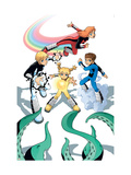Power Pack 2 Group: Zero-G, Lightspeed, Mass Master and Energizer Fighting Prints by Gurihiru Unknown