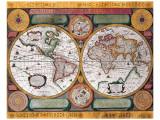 Antique Map, Terre Universelle, 1594 Premium Giclee Print by Petro Plancio