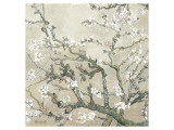 Branches d'amandier en fleurs, Saint-Rémy, vers1890 - tonalité brun beige Reproduction procédé giclée Premium par Vincent van Gogh