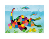 Elmer Snorkelling Prints by David Mckee