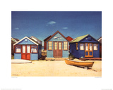 Three Beach Huts Prints by Margaret Heath