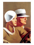 Couple Driving Premium Giclee Print by Marcello Dudovich