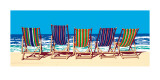 Five Deckchairs Poster by Jonathan Sanders