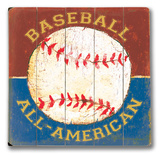 Baseball All American Wood Sign