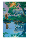 If I Were a Mermaid and You Were a Unicorn Giclee-tryk i høj kvalitet af Jim Warren
