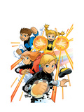Power Pack No.1 Cover: Zero-G, Lightspeed, Mass Master and Energizer Posters by Gurihiru