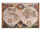 Antique Map, Geographica, Ca. 1630 Premium Giclee-trykk av Henricus Hondius