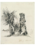 Tree Trunks at La Mare au Clerc Premium Giclee Print by Claude Monet