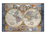 Antique Map, New Map of the World, 1626 Premium Giclee Print by John Speed