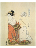 Courtesan Shiratsuyu of The House of Wakana-Ya Premium Giclee Print by Hosoda Eishi