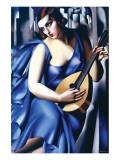 Femme en Bleu Avec Guitare Giclée-Premiumdruck von Tamara de Lempicka