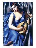 Femme en Bleu Avec Guitare Premium Giclee Print by Tamara de Lempicka