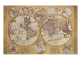 Antique Map, Globe Terrestre, 1690 Premium Giclee Print by Vincenzo Coronelli