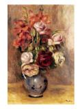 Vase of Gladiolas and Roses Giclée-Premiumdruck von Pierre-Auguste Renoir