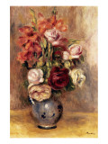 Vase of Gladiolas and Roses Premium Giclee Print by Pierre-Auguste Renoir